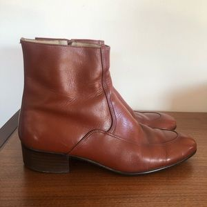 VINTAGE 60s 70s Mens Tan Leather Chelsea Boots
